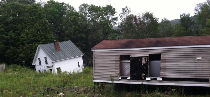 Photo of houses damaged by Tropical Storm Irene